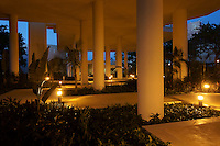 Courtyard at night, Museo Maya de Cancun or Cancun Mayan Mayan Museum that opened in November 2012, Cancun, Mexico      .