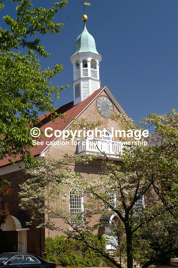 Home Moravian Church which was dedicated in 1800. Old Salem, North Carolina, USA - Although the Moravians had a presence in North Carolina from the 1750s the first buildings in Old Salem were commenced in 1766. The Moravians were religeous refugees from Bohemia in Europe. Bohemia is now part of the present Czech Republic. Since 1950 the town has been preserved to retain its character and old buildings were restored. Ref: 200304230086...Copyright Image from Victor Patterson, 54 Dorchester Park, Belfast, UK, BT9 6RJ..Tel: +44 28 9066 1296.Mob: +44 7802 353836.Voicemail +44 20 8816 7153.Skype: victorpattersonbelfast.Email: victorpatterson@mac.com.Email: victorpatterson@ireland.com (back-up)..IMPORTANT: If you wish to use this image or any other of my images please go to www.victorpatterson.com and click on the Terms & Conditions. Then contact me by email or phone with the reference number(s) of the image(s) concerned.