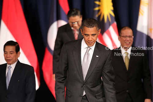 United States President Barack Obama attends a working luncheon with Association of Southeast Asian Nations (ASEAN) leaders, Friday, September 24, 2010 in New York City. Obama has been in New York since Wednesday attending the annual General Assembly at the United Nations, where yesterday he stressed the need for a resolution between Israel and Palestine, and a renewed international effort to keep Iran from attaining nuclear weapons.  .Credit: Spencer Platt - Pool via CNP