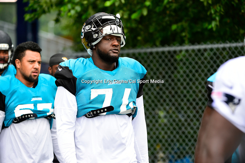 August 8, 2017: Jacksonville Jaguars offensive tackle Cam Robinson (74) walks to practice at the New England Patriots training camp held at Gillette Stadium, in Foxborough, Massachusetts. The Patriots are hosting the Jaguars at camp leading up to their preseason game. Eric Canha/CSM