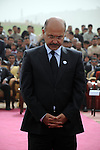 CHAMCHAMAL, IRAQ: Barham Salih pays his respects during the funeral ceremony of 104 Kurds discovered in a mass grave...On April 15, 2010, Iraqi Kurds held a ceremony to honor the 102 children and 2 pregnant women discovered in a mass grave near the town of Dibis.  They are believed to have been killed in the 1988 Anfal genocidal campaign against Iraq's Kurds.