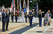 United States President Barack Obama (L) places his hand on his heart and Major General Bradley A. Becker salutes during a laying of the wreath ceremony at the Tomb of the Unknown Soldier at Arlington National Cemetery, Arlington, Virginia, on Memorial Day, May 30, 2016, near Washington, DC. Obama paid tribute to the nation's military service members who have fallen.      <br /> Credit: Mike Theiler / Pool via CNP