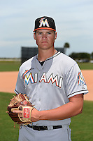 GCL Marlins starting pitcher Tyler Kolek (34) poses for a photo after a game against the GCL Nationals on June 28, 2014 at the Carl Barger Training Complex in Viera, Florida.  GCL Nationals defeated the GCL Marlins 5-0.  (Mike Janes/Four Seam Images)