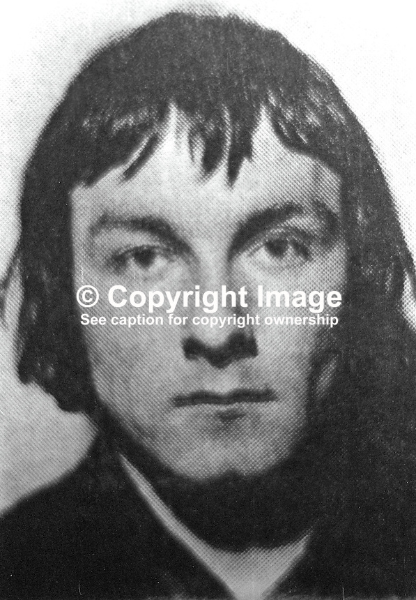 Thomas Kane, Andersonstown, Belfast, 24 years, one of seven escapees, from the prison ship, Maidstone, moored at Belfast docks. The escape took place on the 17th January 1972. 197201190043.<br />