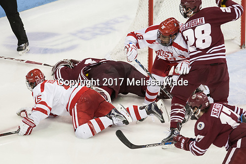 Nick Roberto (BU - 15), Ryan Wischow (UMass - 1), Jordan Greenway (BU - 18), Jake McLaughlin (UMass - 28) - The Boston University Terriers defeated the University of Massachusetts Minutemen 3-1 on Friday, February 3, 2017, at Agganis Arena in Boston, Massachusetts.The Boston University Terriers defeated the visiting University of Massachusetts Amherst Minutemen 3-1 on Friday, February 3, 2017, at Agganis Arena in Boston, MA.