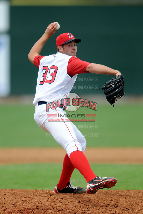 Lowell Spinners pitcher Dylan Chavez #33 during a game versus the Vermont Lake Monsters at LeLacheur Park In Lowell, Massachusetts on June 30, 2013. (Ken Babbitt/Four Seam Images)