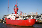 Red Trinity house lightship LV18 in the harbour at  Harwich, Essex, England