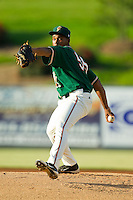 Greensboro Grasshoppers starting pitcher Ramon Del Orbe (55) in action against the Kannapolis Intimidators at CMC-Northeast Stadium on July 15, 2013 in Kannapolis, North Carolina.  The Intimidators defeated the Grasshoppers 4-0.   (Brian Westerholt/Four Seam Images)