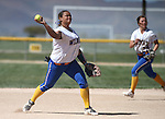 Wildcats' Briauna Carter makes a play against Colorado Northwestern during a college softball game at Edmonds Sports Complex Carson City, Nev., on Friday, April 17, 2015.<br /> Photo by Cathleen Allison