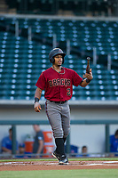 AZL Diamondbacks second baseman Eddie Hernandez (2) tosses his bat to himself after striking out during the game against the AZL Cubs on August 11, 2017 at Sloan Park in Mesa, Arizona. AZL Cubs defeated the AZL Diamondbacks 7-3. (Zachary Lucy/Four Seam Images)