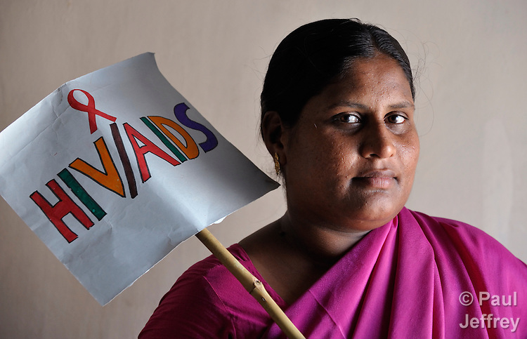 Shailaja is an HIV positive woman who is a member of the Hope Arpana Positive People Effective Network in Guntur, Andhra Pradesh, India. (See Special Instructions below.)