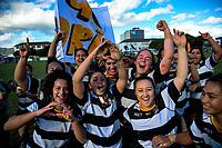 The Ories team celebrates winning the Victoria Tavern Wellington women's premier club rugby final between Oriental-Rongotai and Old Boys University at Petobe Rec in Wellington, New Zealand on Saturday, 5 August 2017. Photo: Dave Lintott / lintottphoto.co.nz