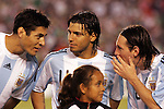 June 04 2008:  Lionel Messi (Barcelona / SPA) (right), Sergio Aguero (Atletico Madrid / SPA) (center), and Julio Cruz (Internazionale / ITA) (left) of Argentina converse during team introductions.  During Mexico's 2008 USA Tour in preparation for qualification for FIFA's 2010 World Cup, the national soccer team of Mexico was defeated by Argentina 1-4 at Qualcomm Stadium, in San Diego, CA.