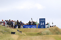 Graeme McDowell (NIR) tees off the par3 14th tee during Thursday's Round 1 of the 2018 Dubai Duty Free Irish Open, held at Ballyliffin Golf Club, Ireland. 5th July 2018.<br /> Picture: Eoin Clarke | Golffile<br /> <br /> <br /> All photos usage must carry mandatory copyright credit (&copy; Golffile | Eoin Clarke)