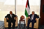 Palestinaian President Mahmoud Abbas meets with Former Prime Minister of Tanzania, Ahmed Salem in Addis Ababa, Ethiopia January 28, 2018. Photo by Egyptian President Office