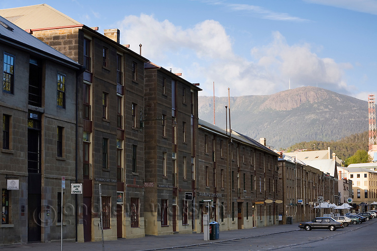 The colonial architecture of Salamanca Place with Mount Wellington beyond.  Hobart, Tasmania, Australia