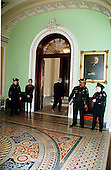 Three uniformed United States Capitol Police Officers and one Doorkeeper stand outside the entrance to the U.S. Senate Chamber in the U.S. Capitol in Washington, D.C. on January 14, 1999..Credit: Ron Sachs / CNP