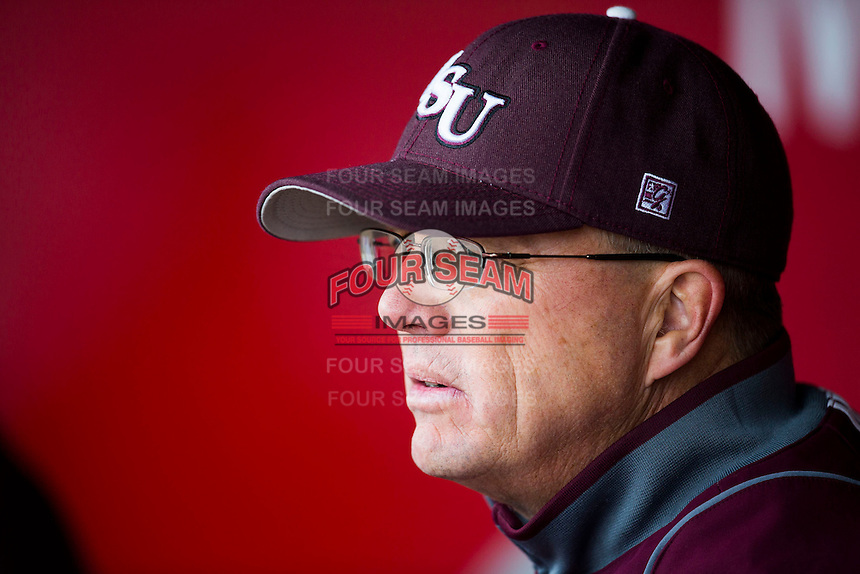 Missouri State Bears assistant coach Brent Thomas stands in the dugout during a game against the Wichita State Shockers at Hammons Field on May 4, 2013 in Springfield, Missouri. (David Welker/Four Seam Images)