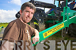 Fergus O'Keeffe, owner of Kerry Mechanical Engineering pictured with the KPM Panbreaker, last Friday in Moyvane..