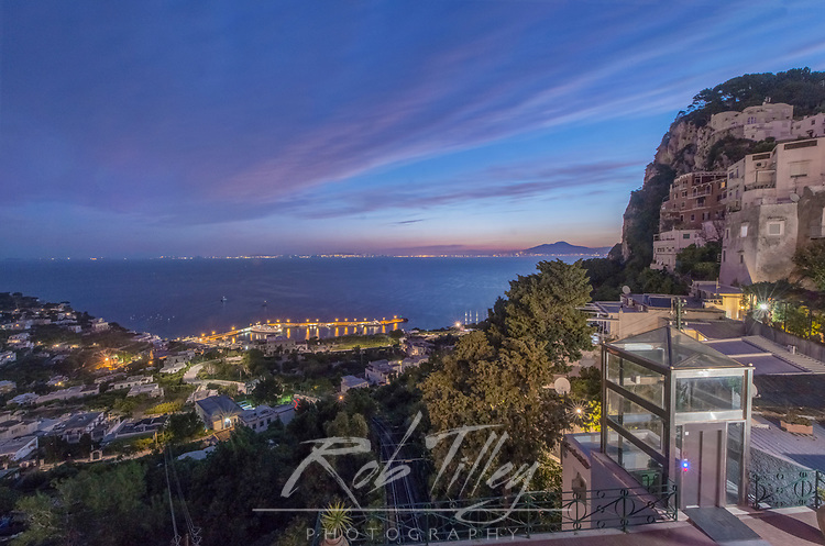 Europe, Italy, Isle of Capri, Capri Town, Sunrise Looking Down on Marina Grande
