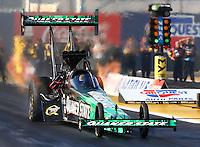 Feb 28, 2016; Chandler, AZ, USA; NHRA top fuel driver Leah Pritchett during the Carquest Nationals at Wild Horse Pass Motorsports Park. Mandatory Credit: Mark J. Rebilas-USA TODAY Sports