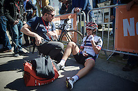 An exhausted Carmen Small (USA/Cerv&eacute;lo-Bigla) drops to the floor after finishing up the brutal Mur de Huy (1300m/9.8%).<br /> <br /> Fl&egrave;che Wallonne 2016