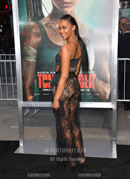 Nafessa Williams at the US premiere for &quot;Tomb Raider&quot; at the TCL Chinese Theatre, Los Angeles, USA 12 March 2018<br /> Picture: Paul Smith/Featureflash/SilverHub 0208 004 5359 sales@silverhubmedia.com