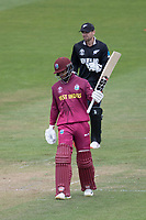 Shai Hope (West Indies) acknowledges his century during West Indies vs New Zealand, ICC World Cup Warm-Up Match Cricket at the Bristol County Ground on 28th May 2019
