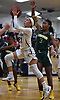 Alexis Aponte #21 of Baldwin, left, drives to the net for a basket against Longwood during the Chanee Monique Brown Memorial Tournament at Baldwin High School on Friday, Dec. 28, 2018. Baldwin won by a score of 56-47.