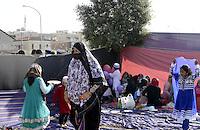 Roma, 8 agosto 2013<br /> Via Casilina, parco di Centocelle<br /> La comunit&agrave; islamica celebra la fine del mese di digiuno con la festa Eid al-fitr.<br /> Nella foto la tenda allestita per la preghiera delle donne