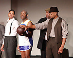 Cast: Jeantique Oriol, Thaddeus Daniels, Layon Gray, Delano Barbosa star in Layon Gray's Kings of Harlem - a story about the Harlem Rens who were one of the dominant basketball teams of the 1920's and 1930's - had a special show on September 15, 2015 at St. Luke's Theatre, New York City, New York. The play stars Melvin Huffnagle, Thaddeus Daniels, Ade Otukoya, Lamar Cheston, Delano Barbosa, Jeantique Oriol and Layon Gray.  (Photo by Sue Coflin/Max Photos)