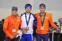 SPEEDSKATING: SALT LAKE CITY: 09-12-2017, Utah Olympic Oval, ISU World Cup, Podium 1500m Men A-Division, Koen Verweij (NED), Denis Yuskov (RUS), World record, 1.41,02, Thomas Krol (NED), ©photo Martin de Jong