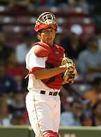 September 26 2006:  Catcher Luis Esposito of the Lowell Spinners, Class-A affiliate of the Boston Red Sox, during a game at Fenway Park in Boston, MA.  Photo by:  Ken Babbitt/Four Seam Images