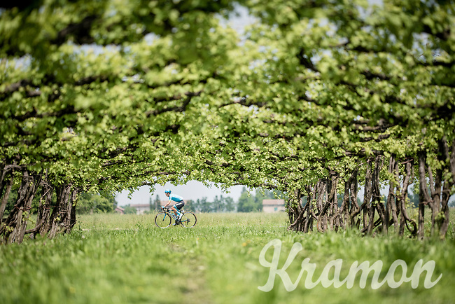 Miguel Angel Lopez (COL/Astana) passing 1 of today's many vineyards<br /> <br /> Stage 11: Carpi to Novi Ligure (221km)<br /> 102nd Giro d'Italia 2019<br /> <br /> ©kramon