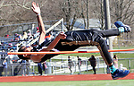 WATERTOWN CT. 16 April 2019-041619SV14-Eric Meade of Woodland competes in the high jump during a track meet at Watertown High in Watertown Tuesday. Watertown hosted Woodland and Torrington in NVL boys and girls track.<br /> Steven Valenti Republican-American