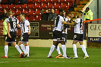 Nathan Arnold of Grimsby Town celebrates scoring their third goal during the Vanarama National League match between Aldershot Town and Grimsby Town at the EBB Stadium, Aldershot, England on 5 April 2016. Photo by Paul Paxford / PRiME Media Images.