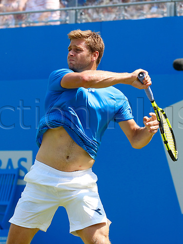 June 19th 2017, Queens Club, West Kensington, London; Aegon Tennis Championships, Day 1; Ryan Harrison (USA) hits forehand during his first round singles match against number six seed Grigor Dimitrov (BUL)