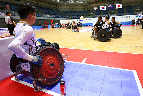 Tomoaki Imai (JPN), October 29, 2015 - Wheelchair Rugby : IWRF 2015 Asia-Oceania Championship Preliminary League match between Japan - New Zealand at Chiba Port Arena in Chiba, Japan. (Photo by Shingo Ito/AFLO SPORT)