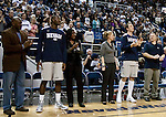 March 3, 2012:   Nevada Wolf Pack seniors Dario Hunt and Olek Czyz are introduced with their families on senior night before the game against the Louisiana Tech Bulldogs  played at Lawlor Events Center on Saturday night in Reno, Nevada.