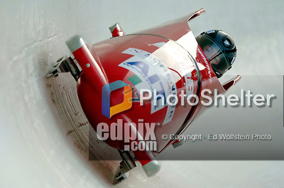 18 November 2005: Jessica Gillarduzzi pilots Italy 2 to a 17th place finish at the 2005 FIBT AIT World Cup Women's Bobsleigh Tour at the Verizon Sports Complex, in Lake Placid, NY. Mandatory Photo Credit: Ed Wolfstein.