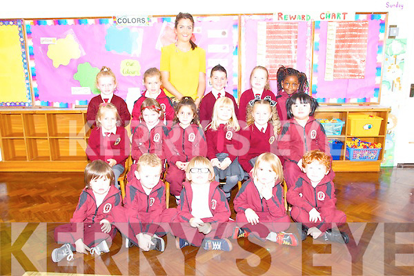 Moyderwell Primary School Junior Infants with teacher, MUinteoir Sarah's class Pictured Front; Aaron Guerin, Eoin Dwane, Andrew O'Connor, Ronan Harrington O'Callaghan, Cathal Carr Middle from left; Guste Sergiejeva, Kelly O'Sullivan, Gia Sharma, Sarlote Babarskaite, Candy Fitzgerald, Abigail De Leon. Back left; Haley Ann O Brien, Nicole O'Connell Healy, teacher Sarah Daly, Joseph O'Connor,  Amelia Ciniecka, Chioma Roberts.