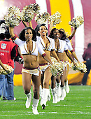 Washington Redskins cheerleaders run onto the field prior to the game against the Indianapolis Colts at FedEx Field in Landover, Maryland on Sunday, October 17, 2010..Credit: Ron Sachs / CNP