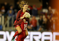 San Jose, CA - Sunday November 12, 2017: Alex Morgan scores and celebrates with Megan Rapinoe during an International friendly match between the Women's National teams of the United States (USA) and Canada (CAN) at Avaya Stadium.