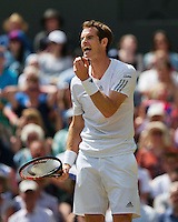 England, London, 28.06.2014. Tennis, Wimbledon, AELTC, Andy Murray (GBR) is frustrated in his match against Dimitrov<br /> Photo: Tennisimages/Henk Koster