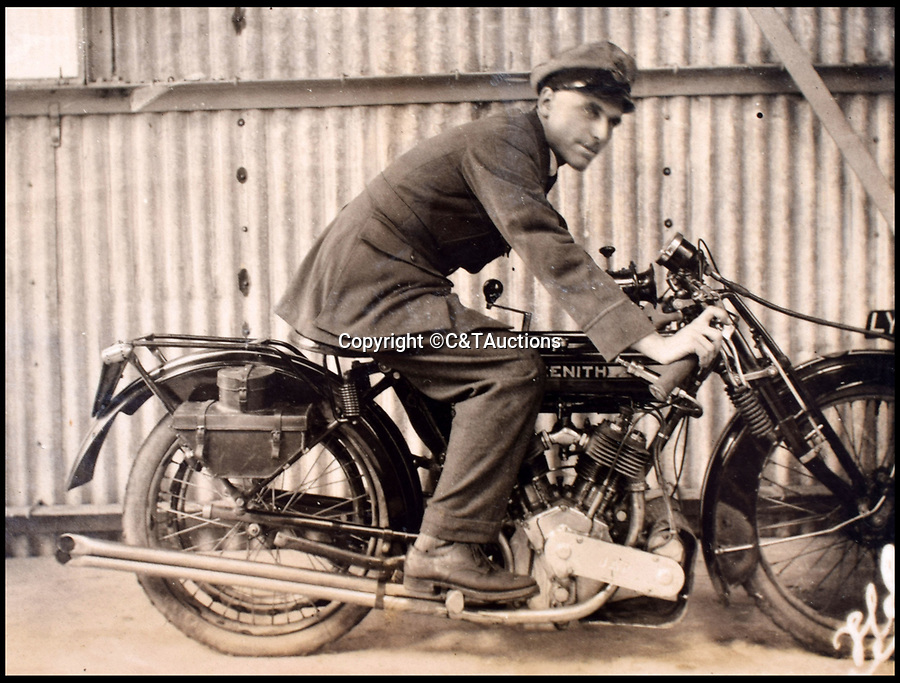 BNPS.co.uk (01202 558833)<br /> Pic: C&TAuctions/BNPS<br /> <br /> Captain Carey on a Zenith motorbike - not content with risking his life in the air Carey also raced motorbikes in his spare time.<br /> <br /> A fascinating photo album which documents the adventures of a captain in the fledgling Royal Naval Air Service has been unearthed after 100 years.<br /> <br /> The photos were compiled by Captain Denis Carey who was based in Maidstone, Kent, and they provide a fascinating insight into the air arm of the Royal Navy during the First World War.<br /> <br /> They show the thrills and spills of the pioneering early days of aviation in a world before health and safety had been invented.