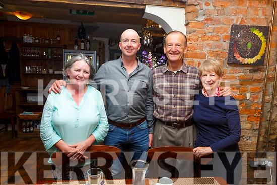 Enjoying a night out in the Croi Restaurant on Friday night. L-r, Carol Riordan (Castlegregory), Lee Hindmarsh (Fenit), Stig and Joan Bais (Tralee).