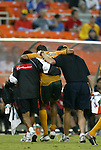 17 July 2004: Tyrone Marshall is helped off the field after being injured in the second half. Los Angeles Galaxy tied DC United 1-1 at RFK Stadium in Washington, DC during a regular season Major League Soccer game..