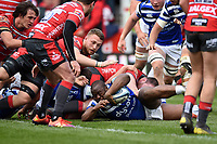 Beno Obano of Bath Rugby reaches for the try-line. Gallagher Premiership match, between Gloucester Rugby and Bath Rugby on April 13, 2019 at Kingsholm Stadium in Gloucester, England. Photo by: Patrick Khachfe / Onside Images