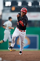Batavia Muckdogs center fielder Ricardo Cespedes (32) runs the bases during a game against the West Virginia Black Bears on June 18, 2018 at Dwyer Stadium in Batavia, New York.  Batavia defeated West Virginia 9-6.  (Mike Janes/Four Seam Images)