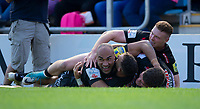 Exeter Chiefs' Olly Woodburn celebrates scoring his side's second try<br /> <br /> Photographer Bob Bradford/CameraSport<br /> <br /> Aviva Premiership Play-Off Semi Final - Exeter Chiefs v Newcastle Falcons - Saturday 19th May 2018 - Sandy Park - Exeter<br /> <br /> World Copyright &copy; 2018 CameraSport. All rights reserved. 43 Linden Ave. Countesthorpe. Leicester. England. LE8 5PG - Tel: +44 (0) 116 277 4147 - admin@camerasport.com - www.camerasport.com
